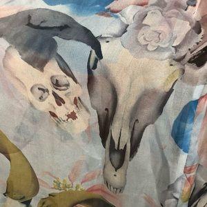 Catherine Malandrino Silk Dress Skull Floral Print